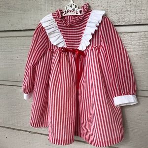Vintage Christmas red white striped girls dress